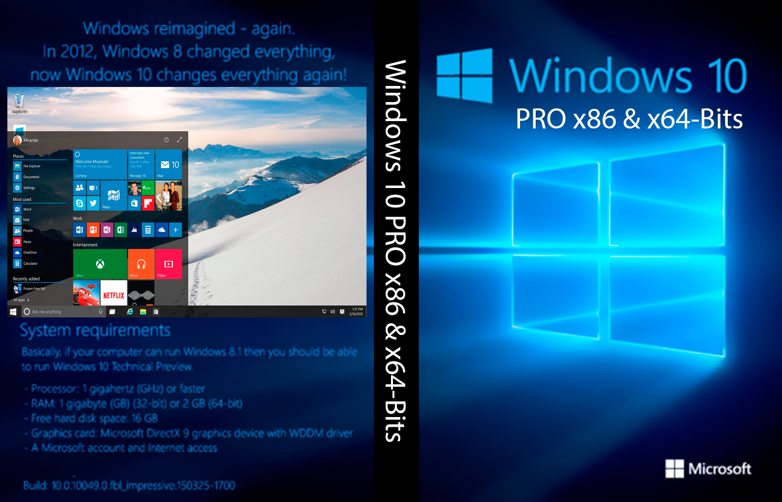 Windows 10 pro x86 x64 bits capa gigain games for Window 10 pro